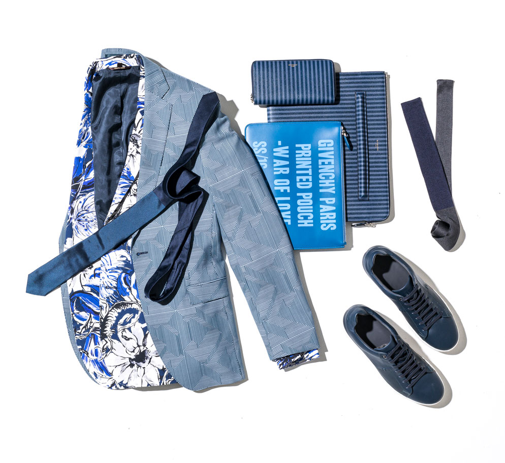 hugo boss blue jacket shoes and ties and roberto cavalli floral jacket and givenchy triped ipad case wallet and text print pouch 994 x 910