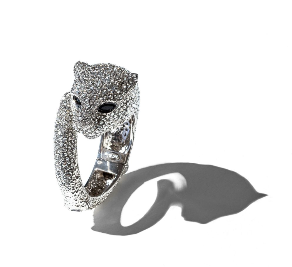 Roberto Cavalli panther bracelet in silver with Swarovski crystals shop the boulevard at studio city macau 1988 x 1820