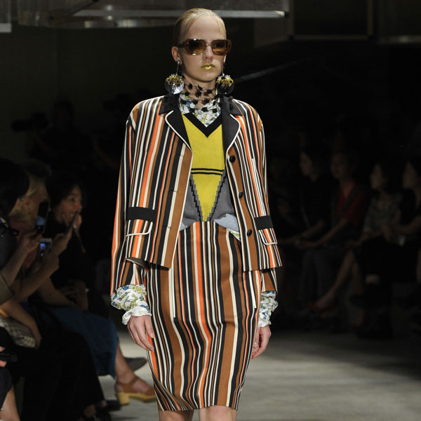 prada runway look vertical stripe jacket and skirt 600 x 600