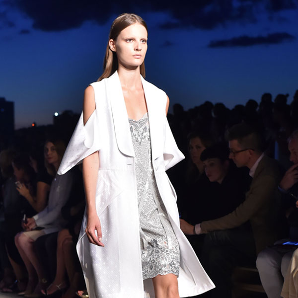 givenchy runway look silver dress and long blazer 600 x 600