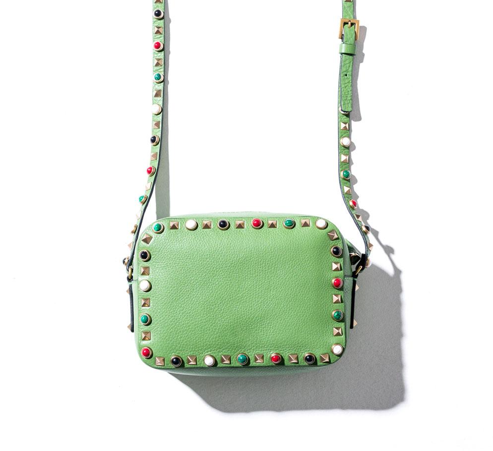 studded valentino shoulder bag in green shop the boulevard at studio city macau 944 x 910