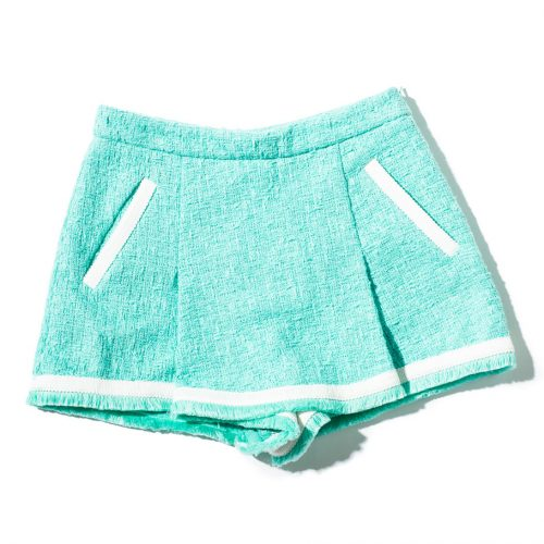 Moschino Couture Tweed Shorts in mint green shop the boulevard at studio city macau 994 x 910