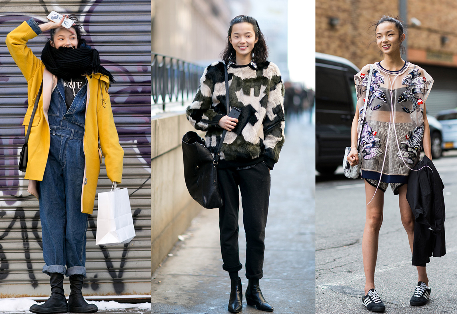 chinese fashion model xiao wen ju street fashion three looks 1600 x 1100