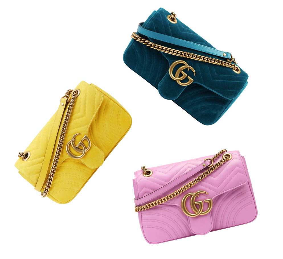 gucci gg marmont crossbody bags in yellow pink emerald