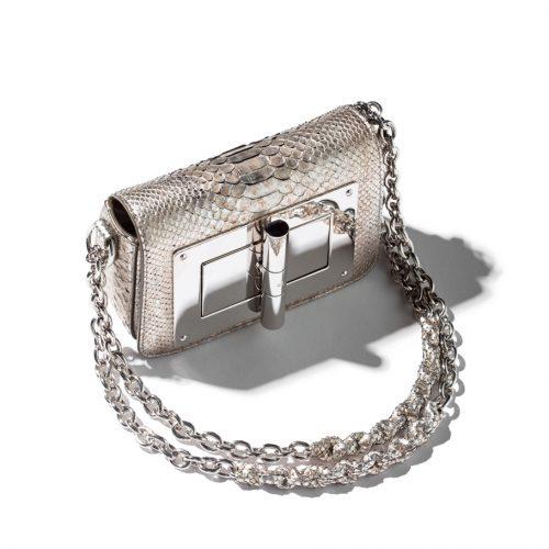 Tom Ford Python Small Natalia Bag in silver