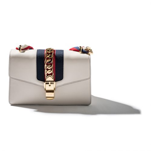 cream Gucci shoulder bag gold hardware with blue and red stripes