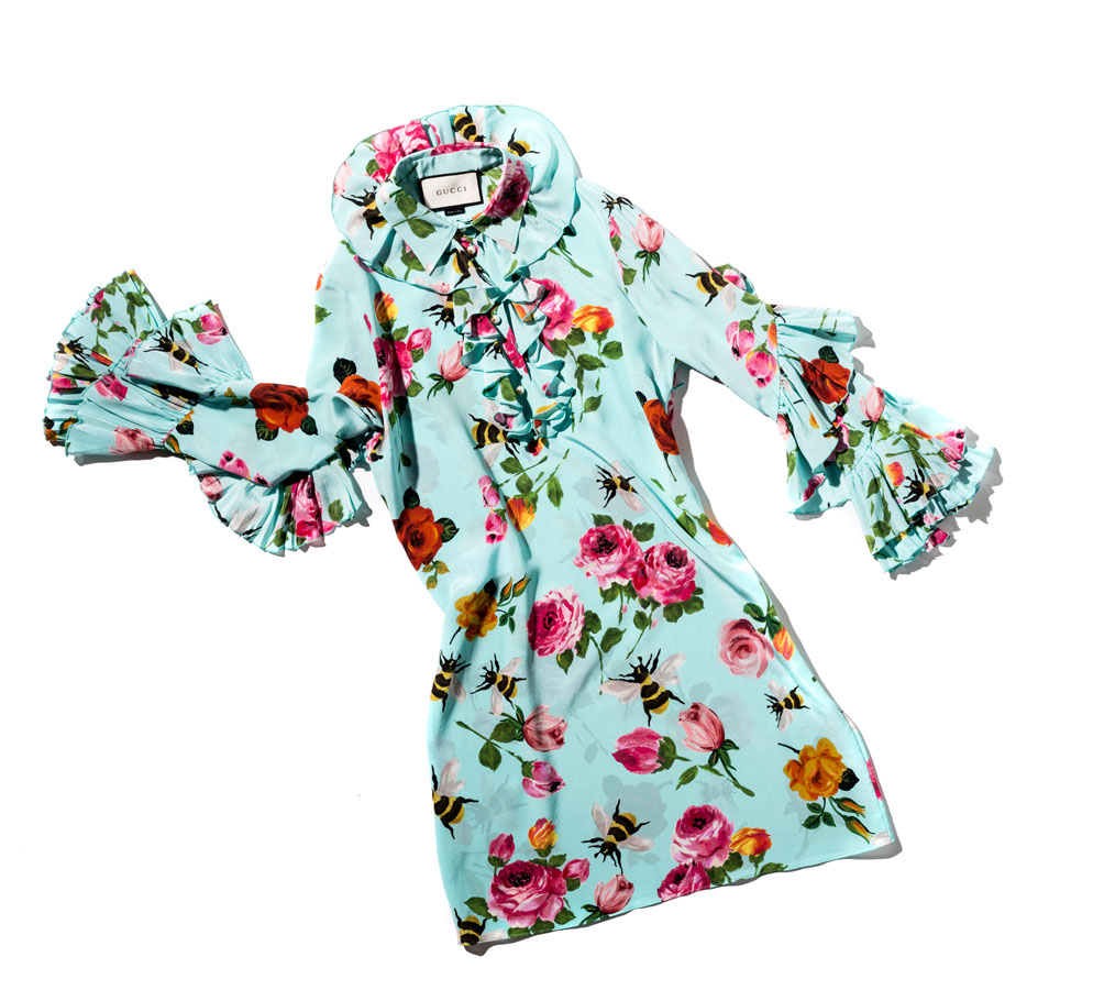 70s fashion Gucci Rose Print Silk Ruffle Dress studio city macau 994 x 910