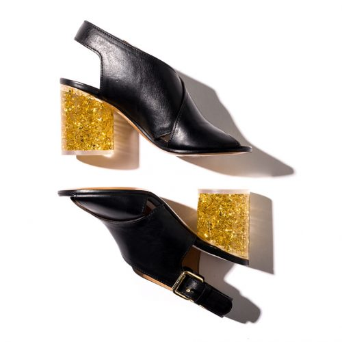 Maison Margiela Cross-strap sandals with gold plexi glass heel shop the boulevard at studio city macau 994 x 910