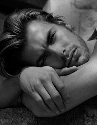 men's skincare routine black and white photograph male model 400 x 513