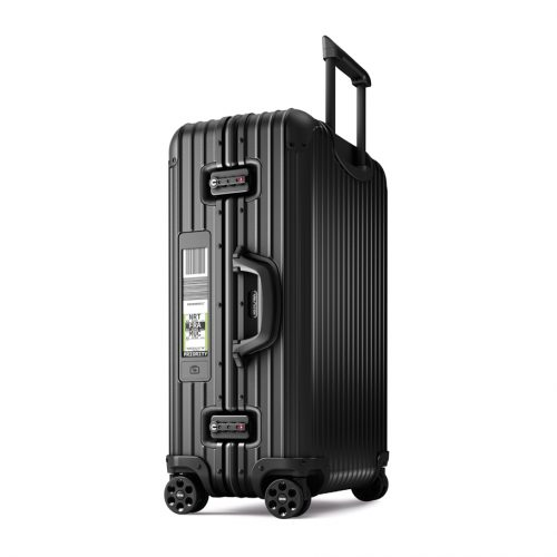 rimowa electronic tag topas suitcase in black