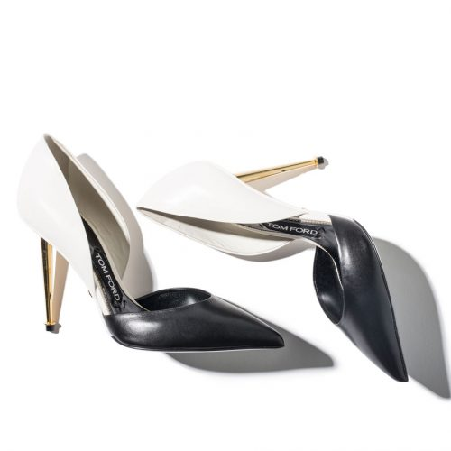sexy black and chalk-white leather Tom Ford Double D'Orsay Pumps