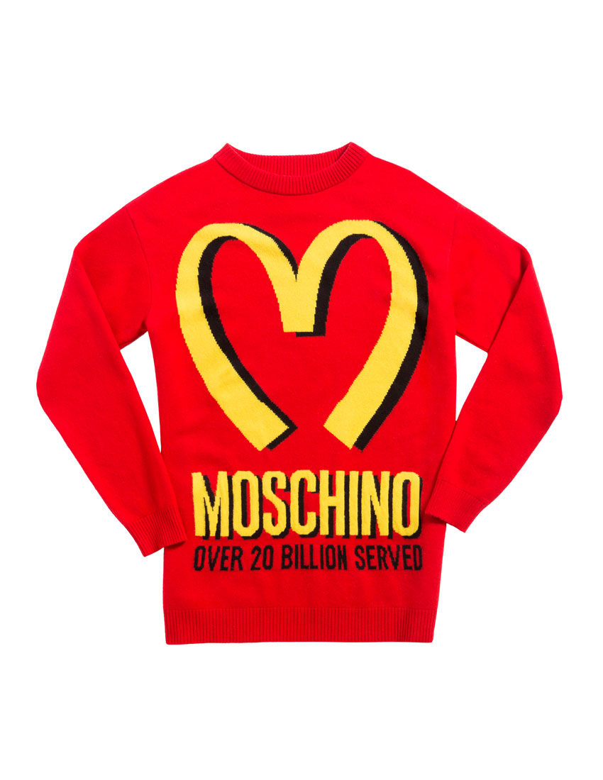 moschino fashion top 5 looks featuring 2014 mcdonalds sweatshirt designed by jeremy scott 850 x 1100