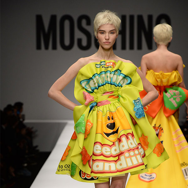 food and fashion featuring moschino aw14 gummy bear dress