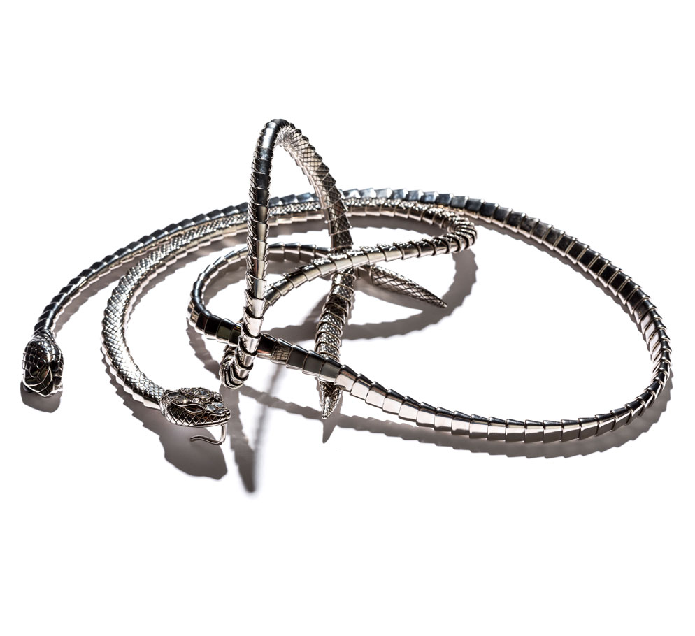 roberto cavalli double snake necklace in silver