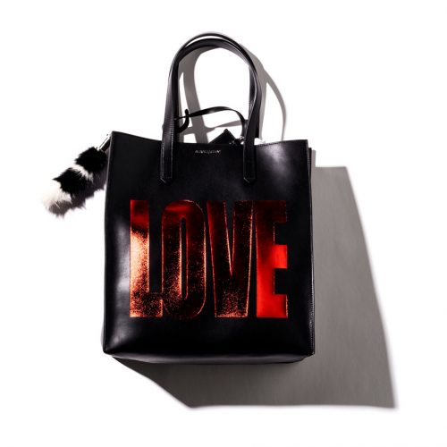 givenchy basic leather tote bag in black with metallic crimson love