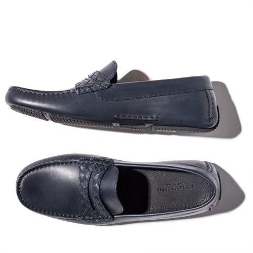 Bottega Veneta Moca Pelle S Gomma Loafers in blue leather