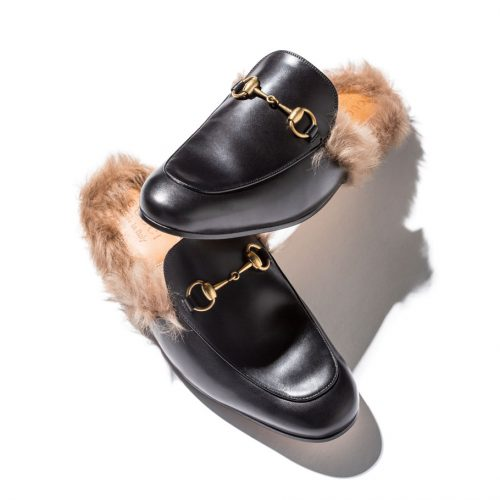 Gucci Princetown Slippers in black leather and tan fur
