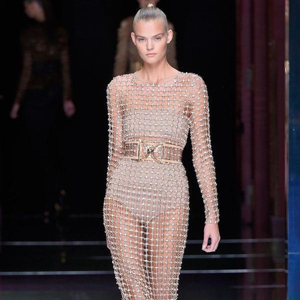 凯特·摩丝Kate Moss身穿巴尔曼Balmain肉色裙子