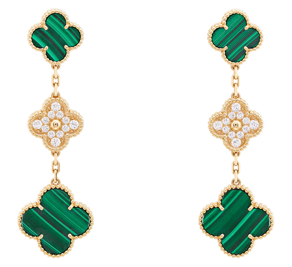 van cleef and arpels malachite alhambra drop earrings