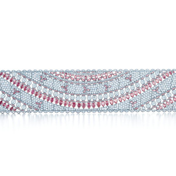 tiffany and co macau exhibition facets of tiffany featuring pink and white diamond bracelet 600 x 600