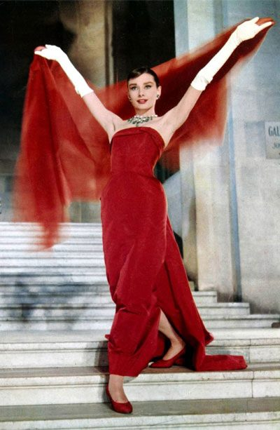 top 5 givenchy fashion featuring actress audrey hepburn in funny face movie wearing red dress 400x613