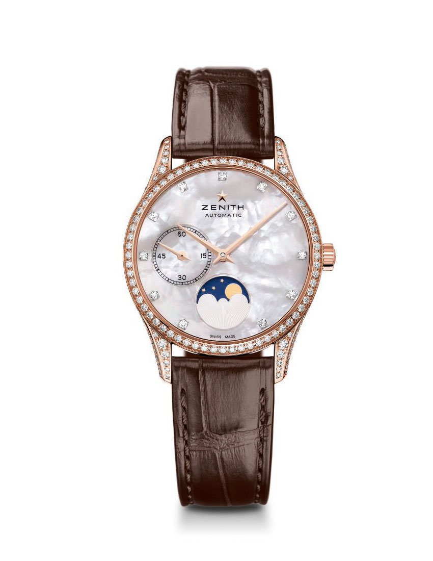 christmas gift guide top 5 women's watches featuring zenith elite ultra thin lady moonphase 850x1100