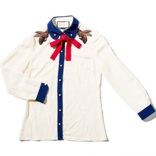 Gucci White Silk Shirt with red bow collar and blue details