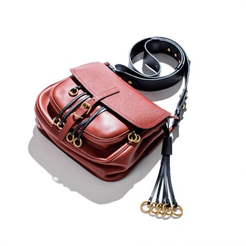 prada leather corsaire bag in red