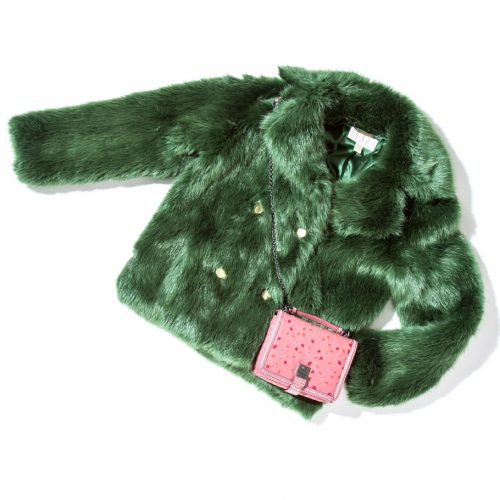 michael kors furry green coat faux fur