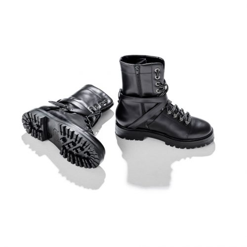 valentino black boots double straps for women