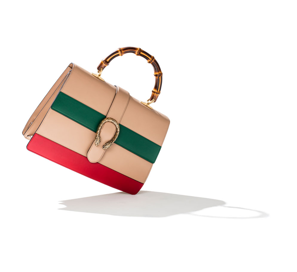 Gucci Dionysus Leather Top Handle bag red and green