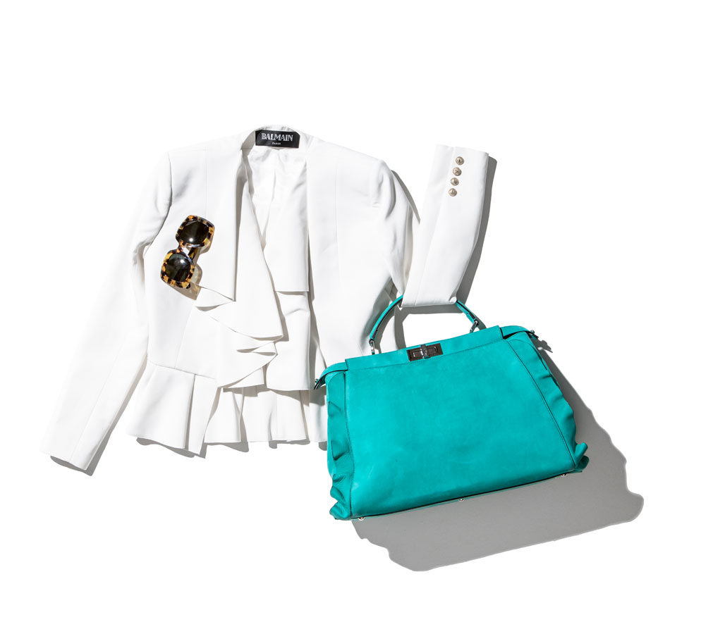 business casual attire featuring balmain jacket michael kors sunglasses and fendi bag