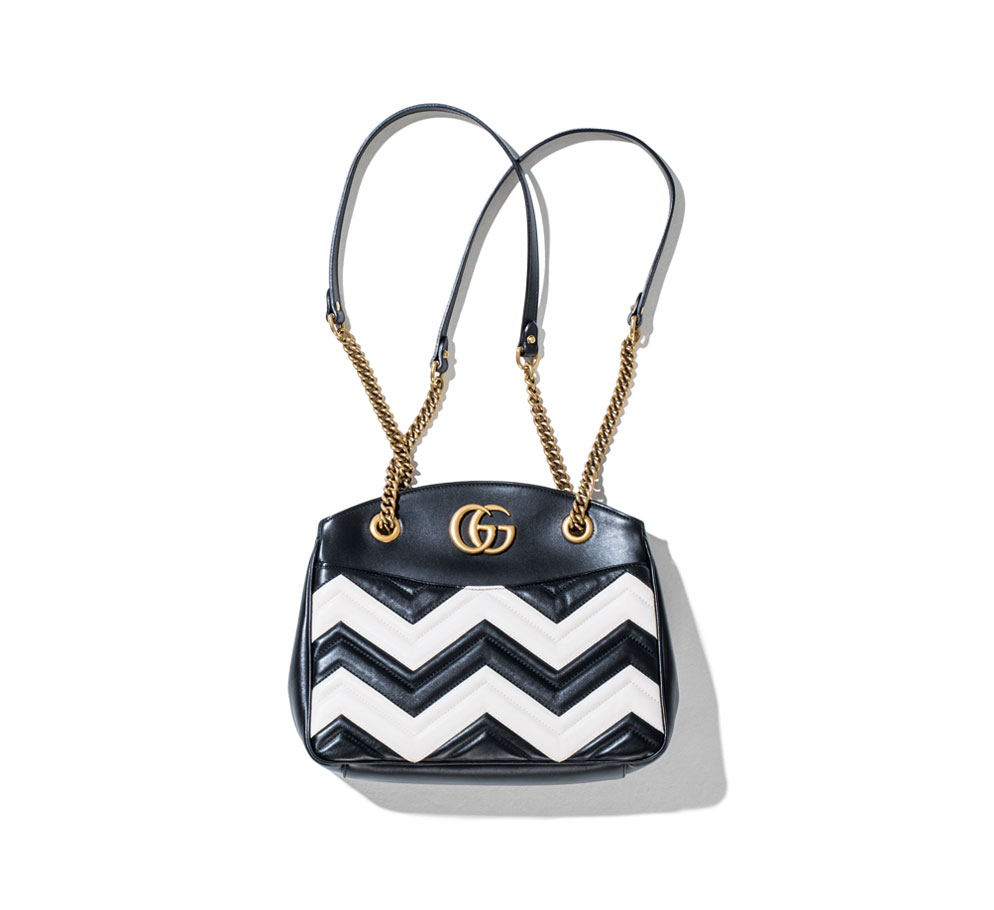 gucci black and white gg marmont quilted bags