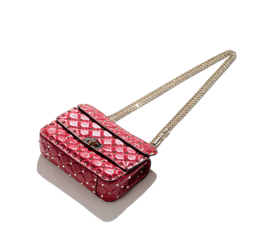valentino rockstud bag in rose-red