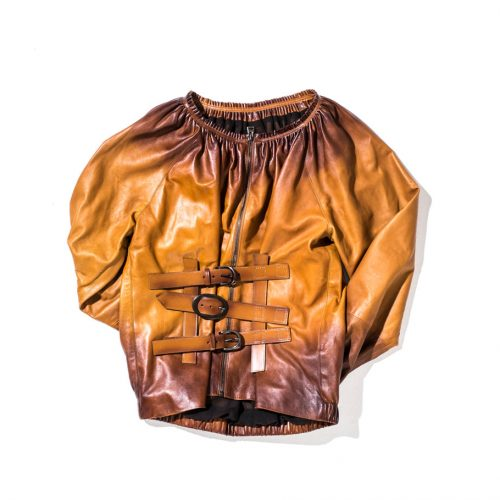 tom ford leather blouse brown