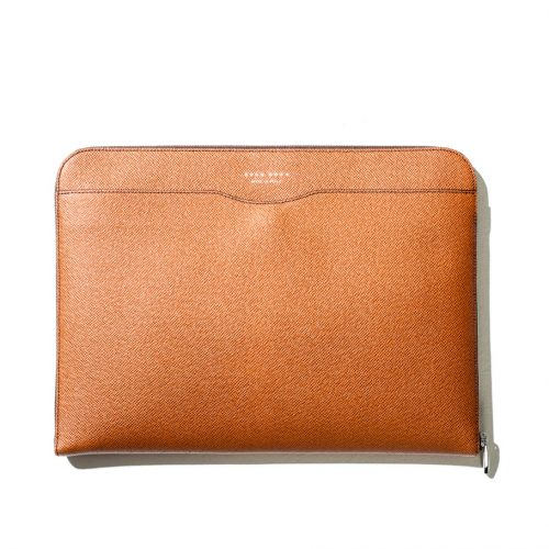 hugo boss laptop case in brown leather
