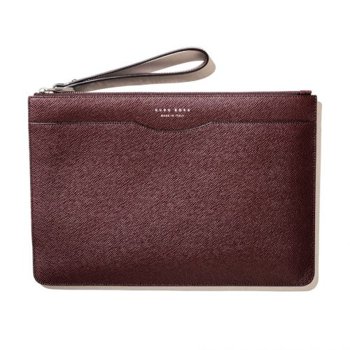 hugo boss large pouch in brown