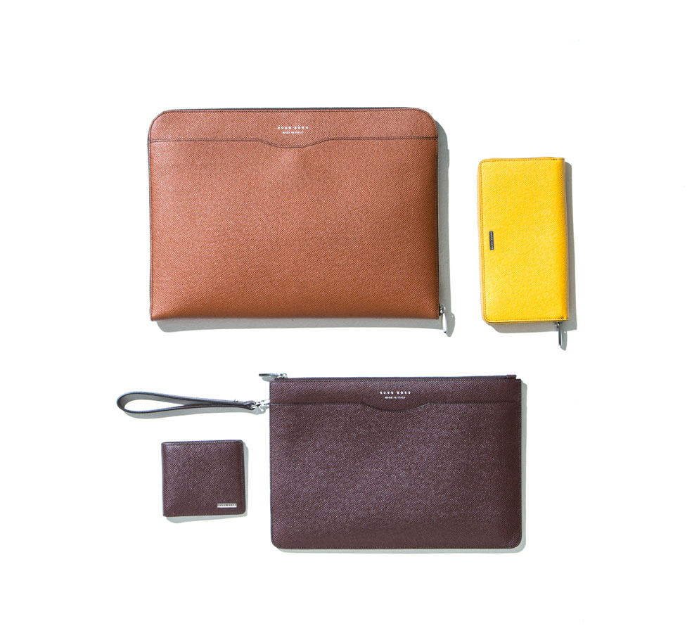 travel kit featuring hugo boss leather travel essentials