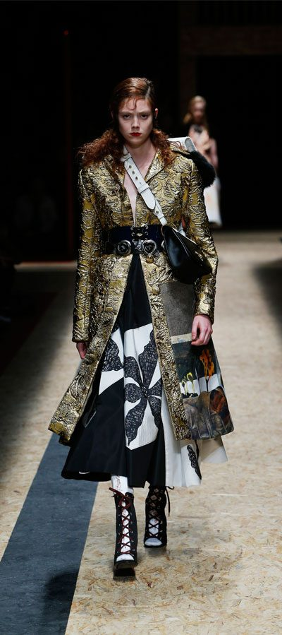 ideas for christmas party outfits featuring prada golden brocade coat