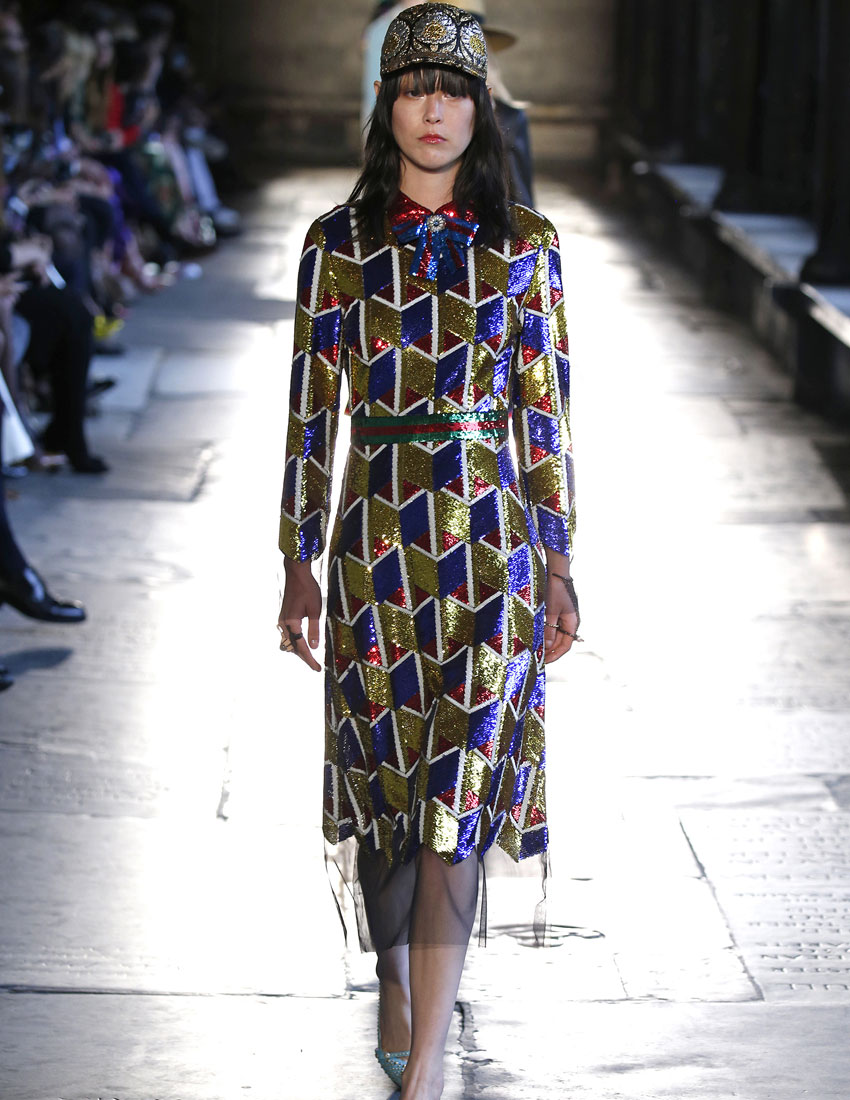 ideas for christmas party outfits featuring gucci multi-coloured dress