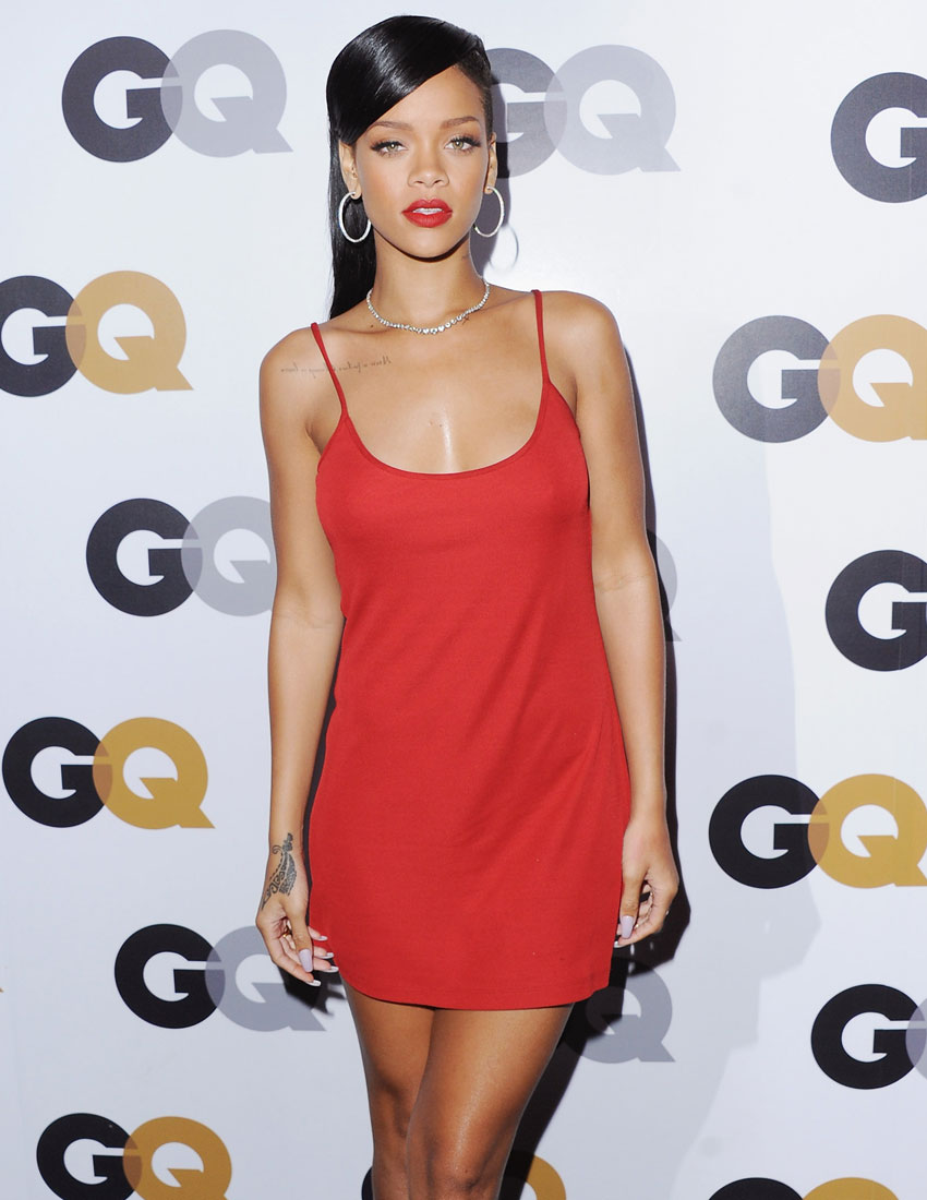 ideas for christmas party outfits featuring calvin klein little red dress worn by rihanna at GQ