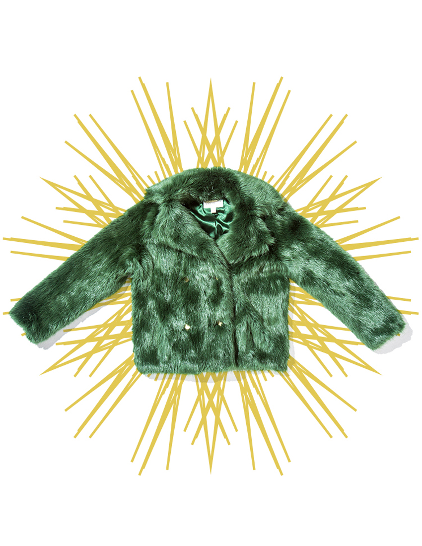 michael kors faux fur coat in green