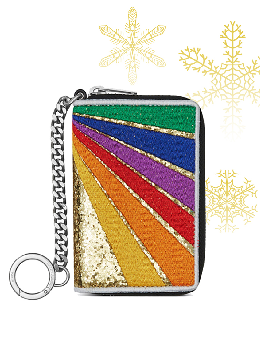 saint laurent rainbow patch key ring coin pouch