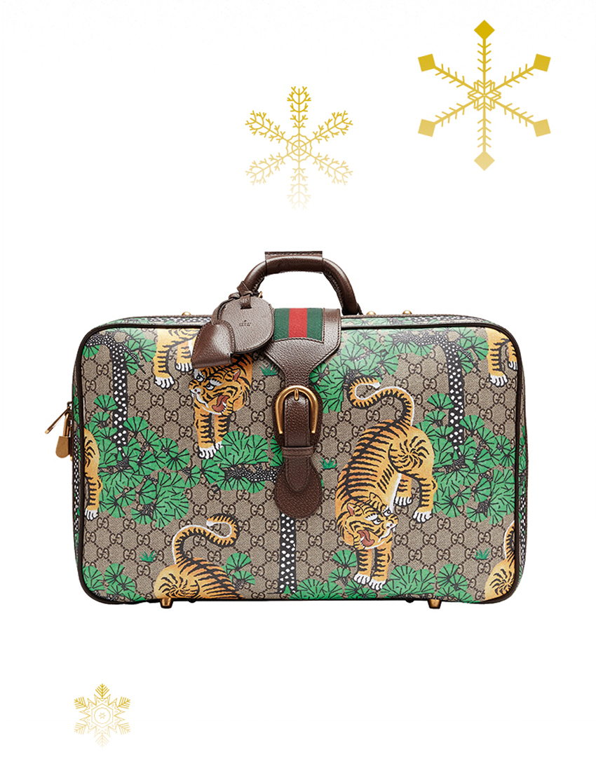gucci gg supreme suitcase with tigrotti print