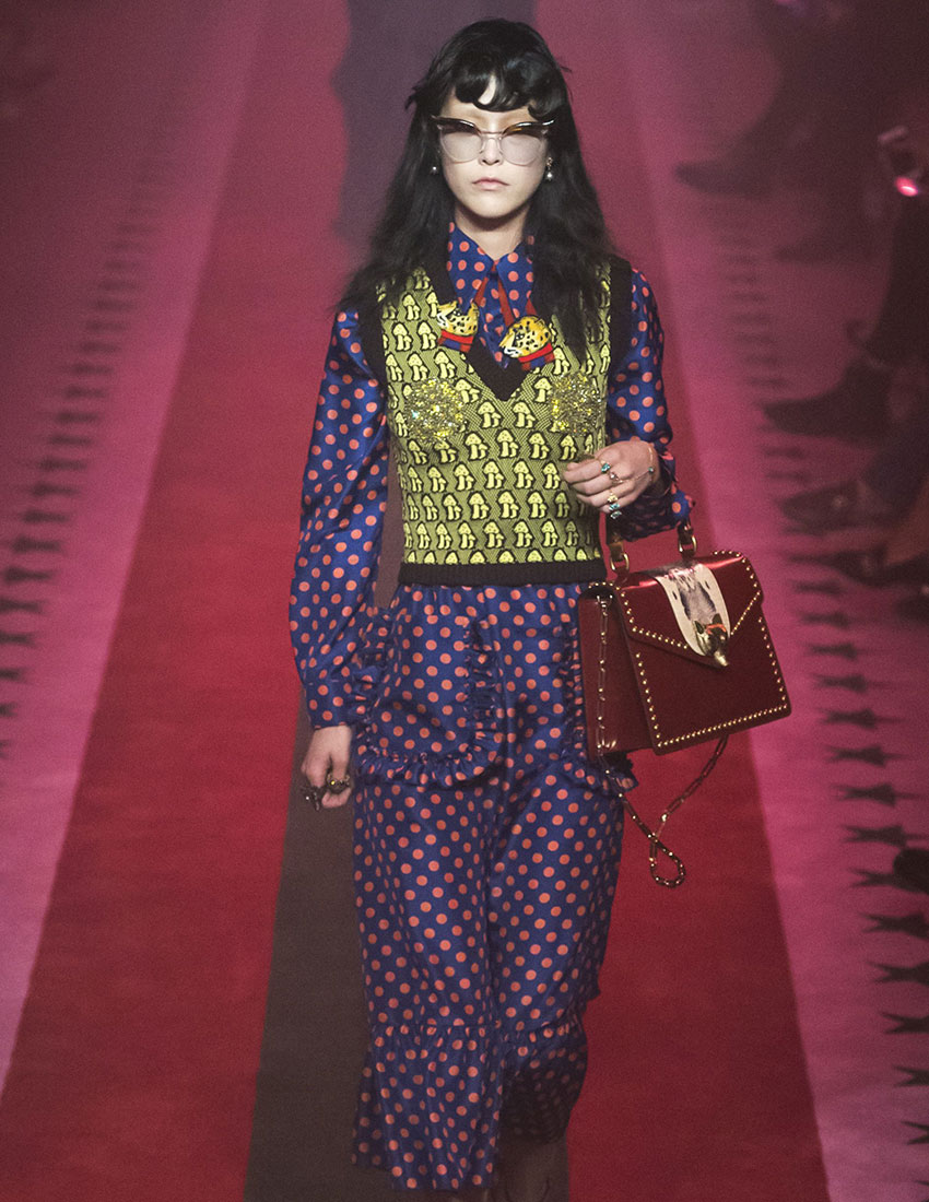 print on print fashion trend by gucci runway look
