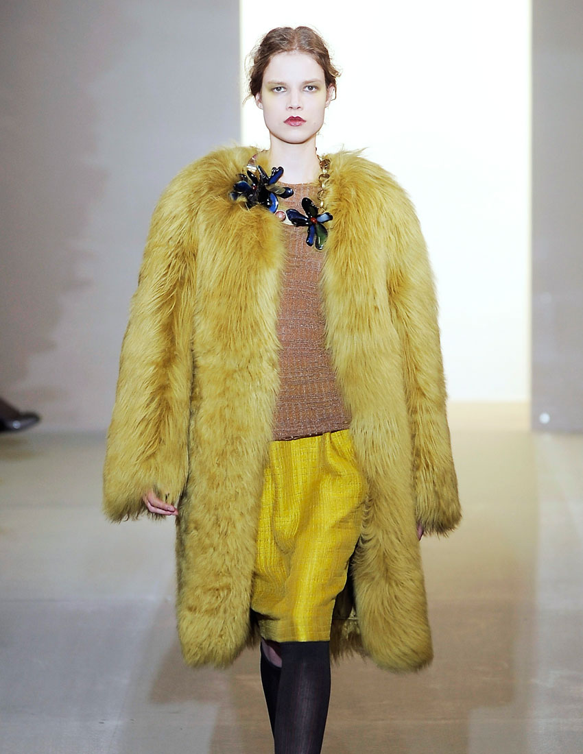 iconic marni fashion runway look featuring coloured fur coat designed by consuelo castinglioni