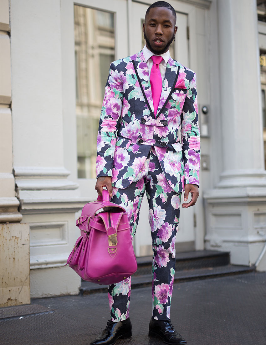 daring men's fashion trends featuring hot pink floral suit
