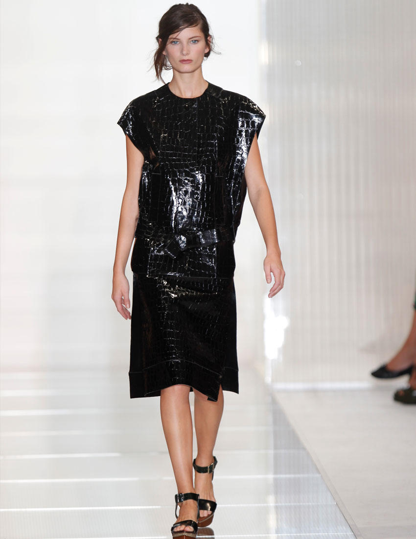 iconic marni fashion runway look featuring black oversized tunic by consuelo castinglioni