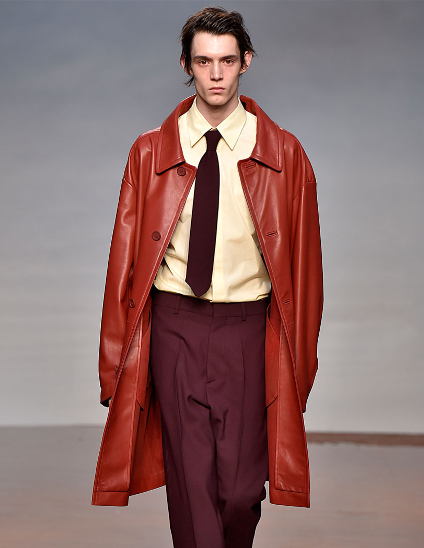 iconic marni fashion runway look featuring men's leather red coat by consuelo castinglioni