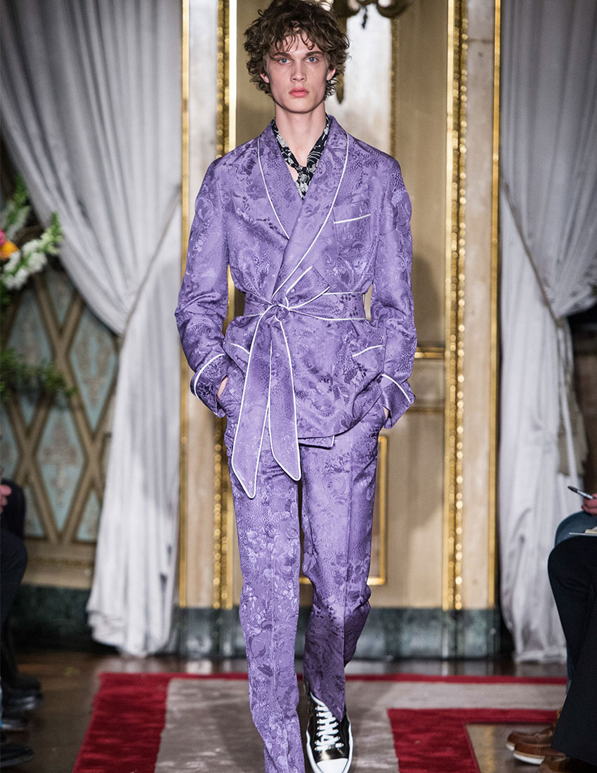 daring men's fashion trends featuring purple luxury loungewear